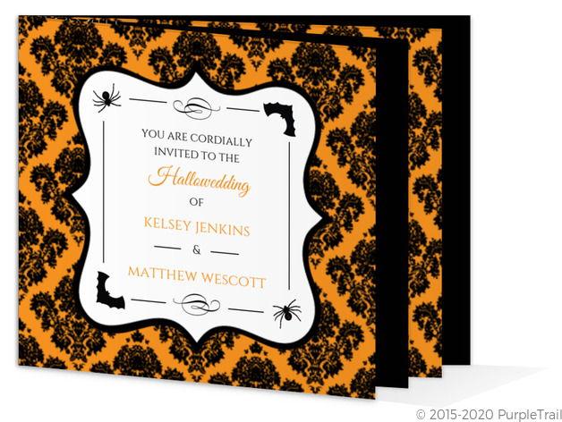Black and Orange Damask Booklet Halloween Wedding Invitation