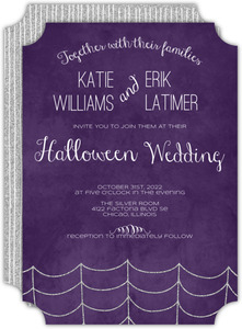 Silver Spider Web Halloween Wedding Invitation