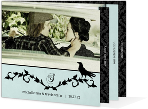 Rustic Black Vines and Crow  Halloween Wedding Invitation