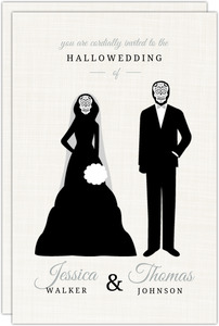 Skeleton Bride and Groom  Halloween Wedding Invitation