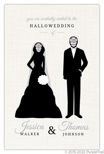Skeleton Bride and Groom Halloween Wedding Invitation Halloween
