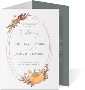 Faux Rose Gold Pumpkin Frame Trifold Wedding Invitation
