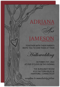 Charcoal Gray Tree Halloween Wedding Invitation