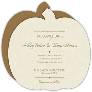 Rustic Pumpkins  Halloween Wedding Invitation