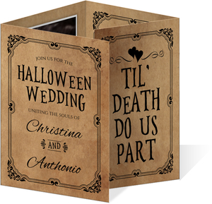 Vintage Elegant Black Halloween Wedding Invitation