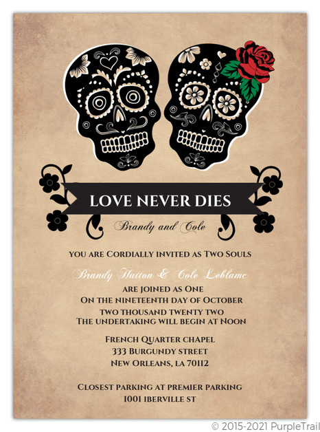 Day of the Dead Skulls Halloween Wedding Invitation Halloween