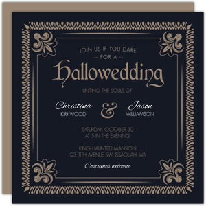 Detailed Vintage Frame Halloween Wedding Invitation