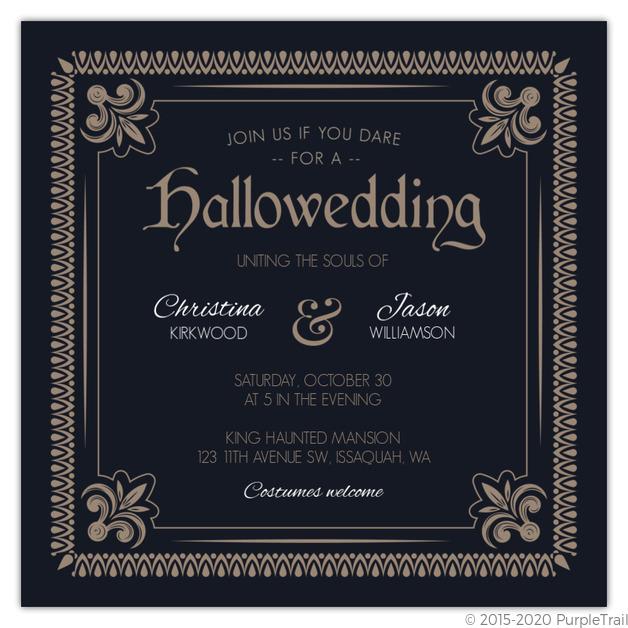Detailed Vintage Frame Halloween Wedding Invitation