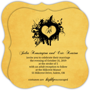 Grunge Black Monogram Halloween  Wedding Invitation