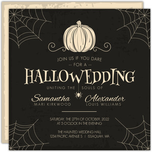 Creepy Pumpkin Halloween Wedding Invitation