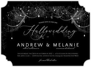 Elegant Spider Web Sparkles Halloween Wedding Invitation