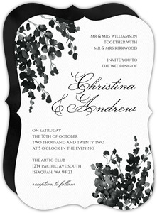 Black Watercolor Decor Wedding Invitation