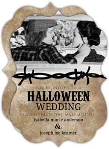 Rustic Black Barbwire  Halloween Wedding Invitation
