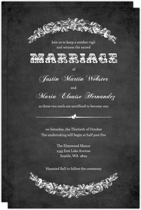 Gray Vintage Halloween  Wedding Invitation