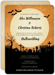 Midnight Graveyard Halloween Wedding Invitation