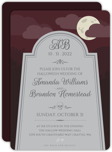 Monogram Tombstone Halloween Wedding Invitation