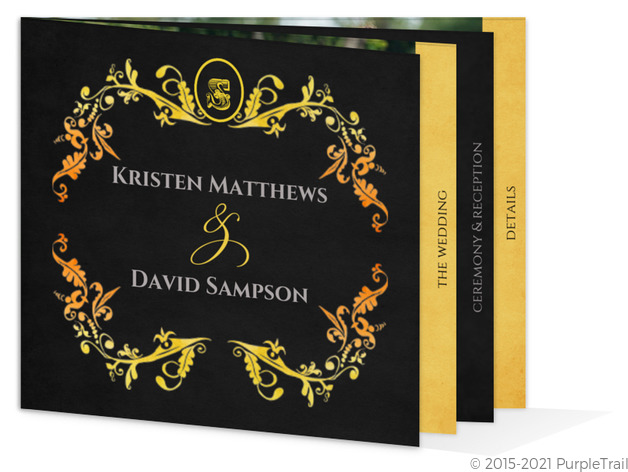 Watercolor Halloween Booklet Wedding Invitation