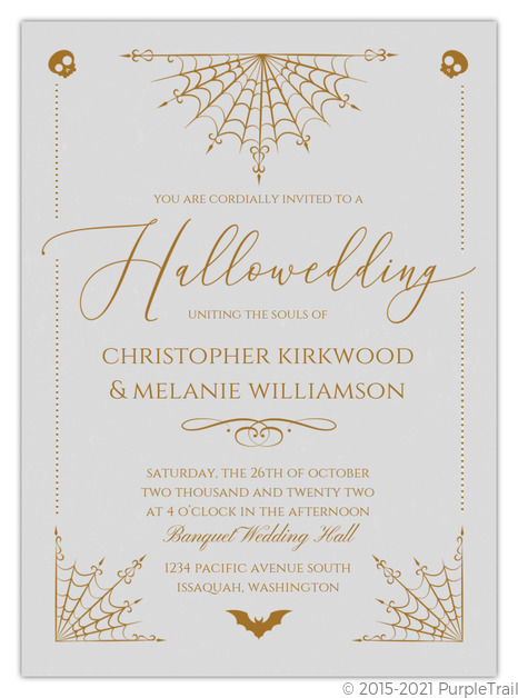 Elegant Night Web Halloween Wedding Invitation Halloween Wedding Invitations
