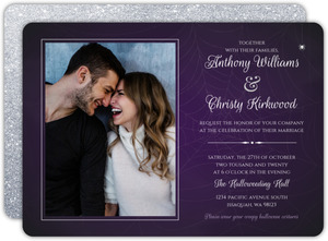 Purple Web Photo Halloween Wedding Invitation