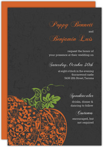 Regal Pumpkin Halloween  Wedding Invitation