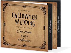 Rustic Elegant Black Booklet Halloween Wedding Invitation