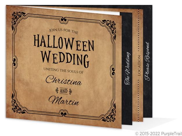 Rustic Elegant Black Booklet Halloween Wedding Invitation