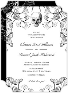 Gothic Ginkgo Halloween Wedding Invitation