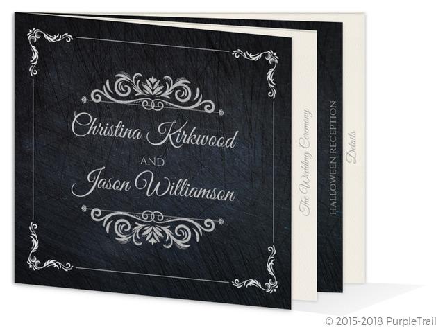 Gothic Elegant Booklet Halloween Wedding Invitation