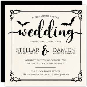 Ornamental Decor Halloween Wedding Invitation