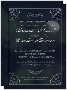 Dark Night Halloween Wedding Invitation