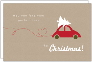 Kraft Paper And Car With Tree Christmas Card