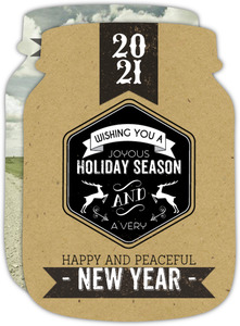 Kraft Jar Label Holiday Photo Card