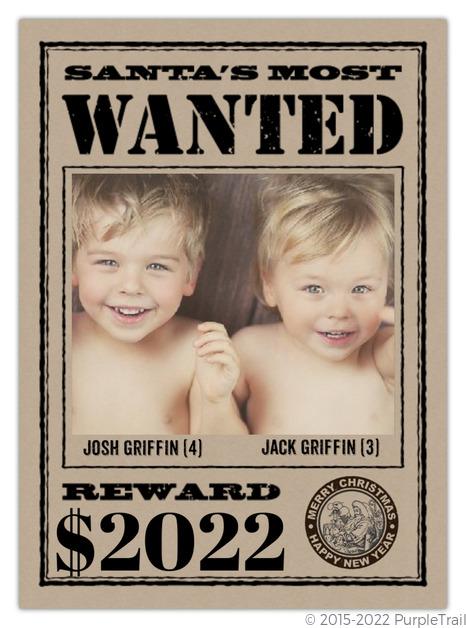 Wanted Christmas Photo Card