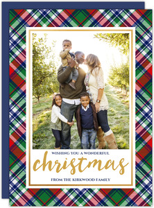 Blue Red Green Plaid Christmas Card