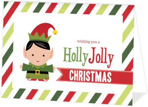 Holly Jolly Elf Christmas Card