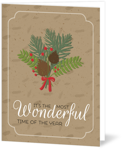 Wonderful Pine Bouquet Holiday Card