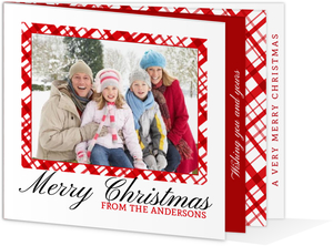 Elegant Bright Red Check Christmas Photo Booklet