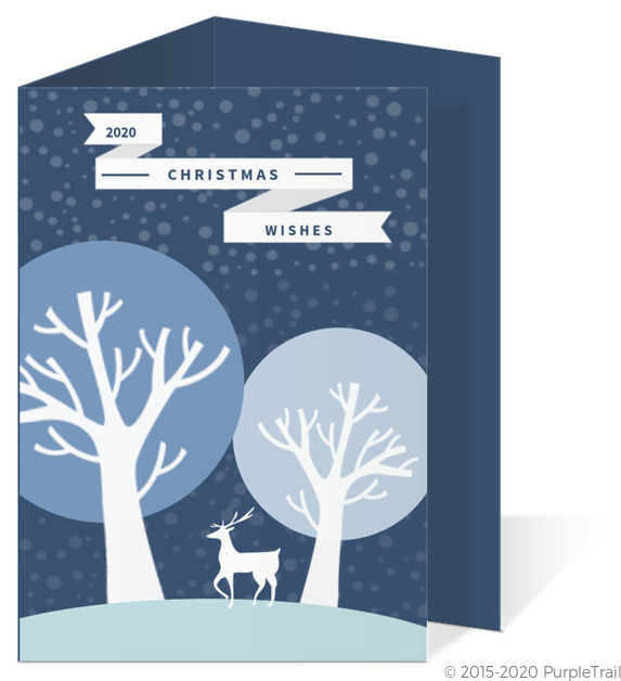 Reindeer Christmas Cards.Blue Reindeer Christmas Card