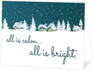 Snowy Christmas Village Holiday Card