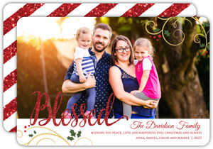 Blessed Holly Christmas Photo Card