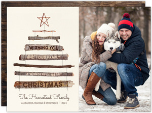 Rustic Wood Tree Christmas Photo Card