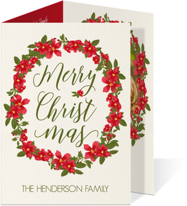 Red & Green Poinsettia Christmas Photo Card