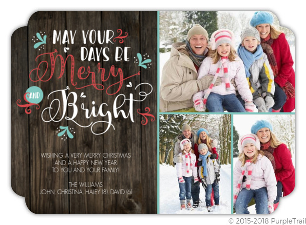 Merry And Bright Swirl Christmas Photo Card