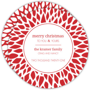 Red Mums Circle Christmas Card
