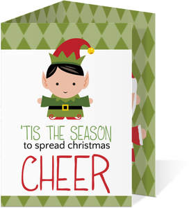 Green Christmas Elf Photo Cards