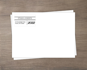 Classic Black And White Graduation  Printed Envelopes
