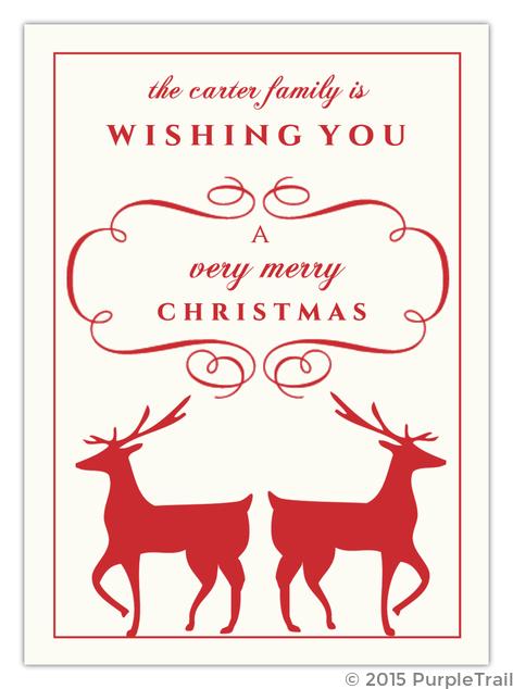 Reindeer Christmas Cards.Elegant Reindeer Christmas Card