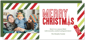 Green and Red Stripes Christmas Card