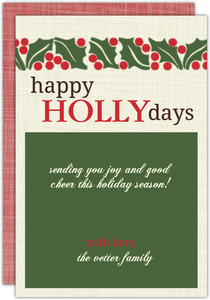 Holly And Berries Christmas Card