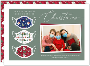 Christmas Pattern Mask Photo Card